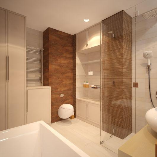 parede de madeira moderna para banheiro