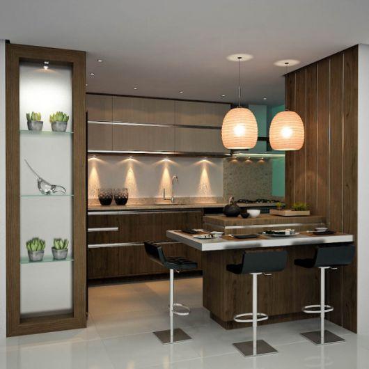 cozinha com parede de madeira
