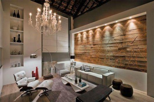 parede de madeira sala rústica