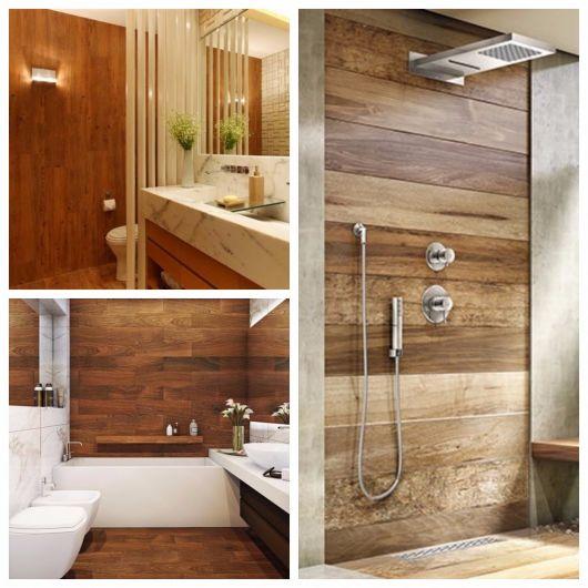 dicas de banheiro com parede de madeira