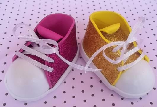 sapatinho de EVA estilo all star glitter