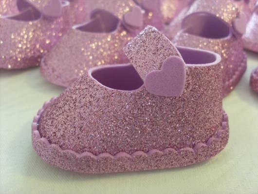 sapatinho de EVA glitter rosa