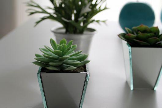 vaso espelhado quadrado pequeno