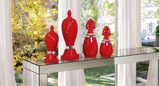vaso espelhado vermelho