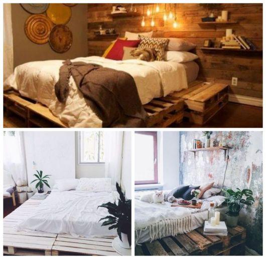Montagem com diferentes tipos de camas de palete com criado mudo.