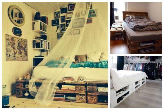 Montagem com fotos de cama de paletes, aproveitando o espaço embaixo para guardar coisas.