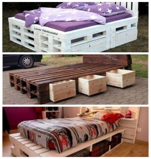 Montagem com três fotos de camas de paletes com gavetas.