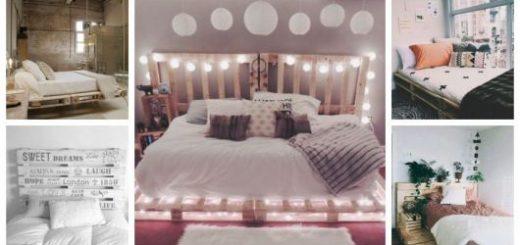 Montagem com cinco cômodos diferentes que tem cama de paletes.
