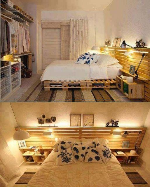 Montagem com duas fotos, mostrando diferentes ângulos de um quarto.