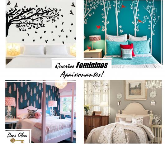 Ilustração com foto de quartos femininos decorados.