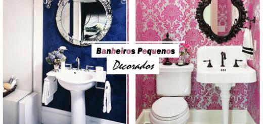 Foto ilustração com banheiros pequenos.