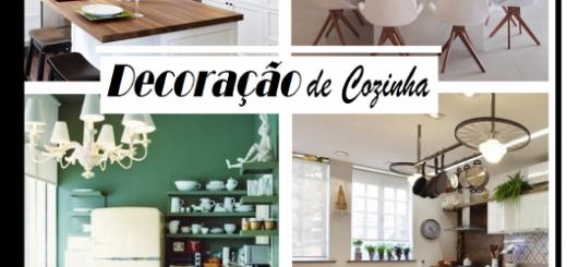 Ilustração inicial do post com fotos diversas de cozinhas pequenas.