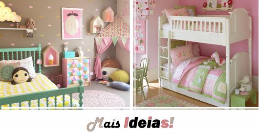 ilustração com montagens de quarto infantil feminino.