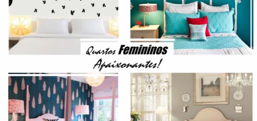 Modelo de quartos femininos nas cores branco, verde, rosa e bege.