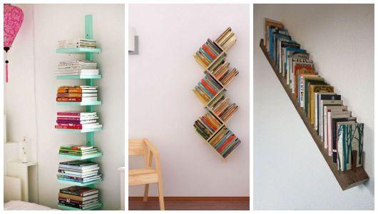 Três estantes diferentes para guardar livros.