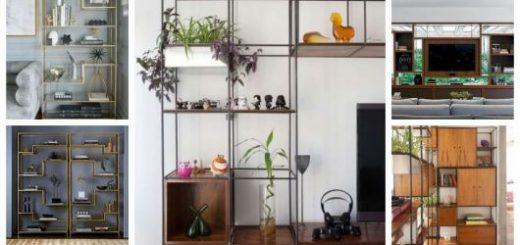 Montagem com 5 tipos diferentes de estantes modernas.