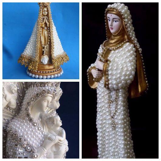 santos decorados com pérolas