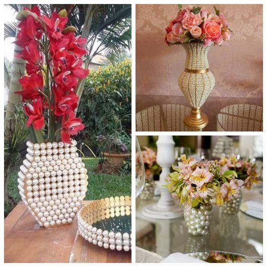 vasos decorativos com pérolas