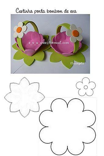 molde cestinha de flor