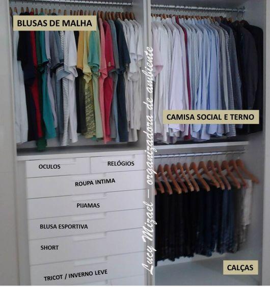 como organizar guarda-roupa masculino