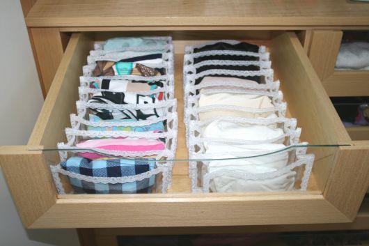 como organizar guarda-roupa calcinha