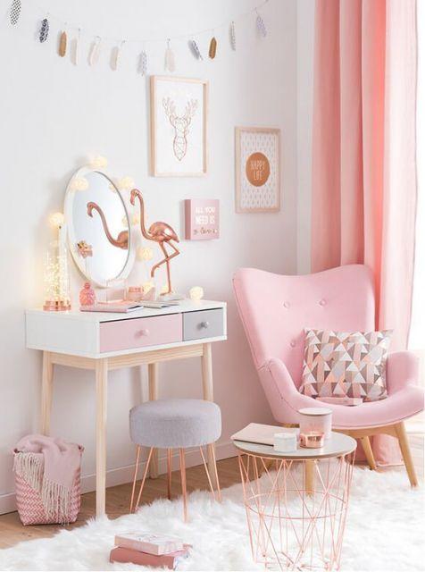 decora o rose gold 70 maneiras bel ssimas com a cor do momento. Black Bedroom Furniture Sets. Home Design Ideas