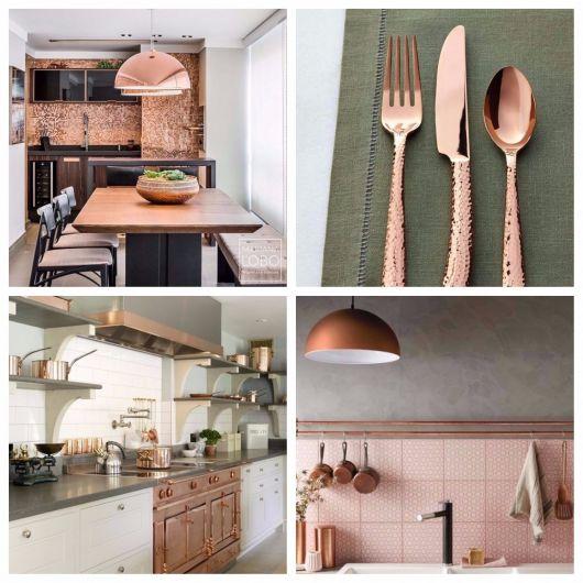 decor rose gold na cozinha