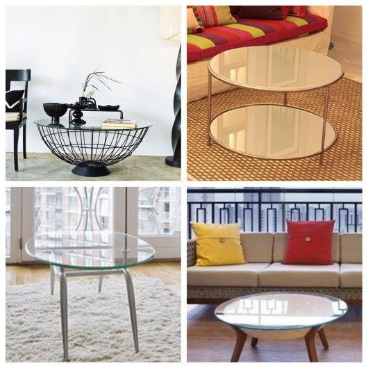 mesa de centro de vidro redonda