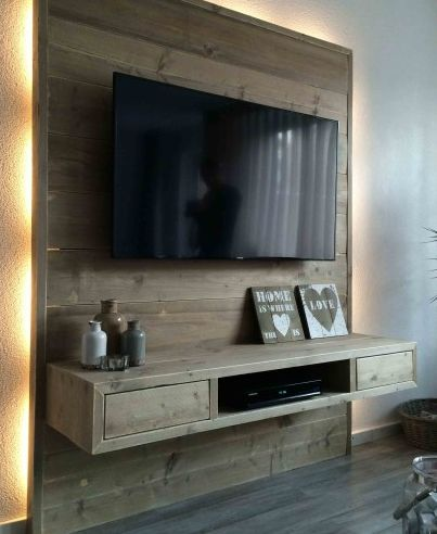 80 modelos de painel de pallets incr veis como fazer em casa - Attache murale tv ...