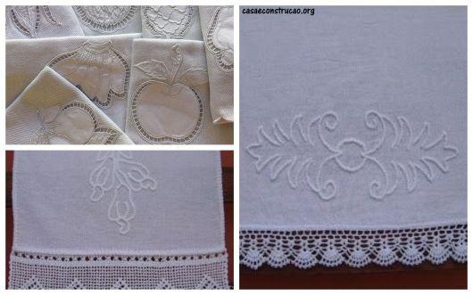 ideias para bordado pano de prato branco