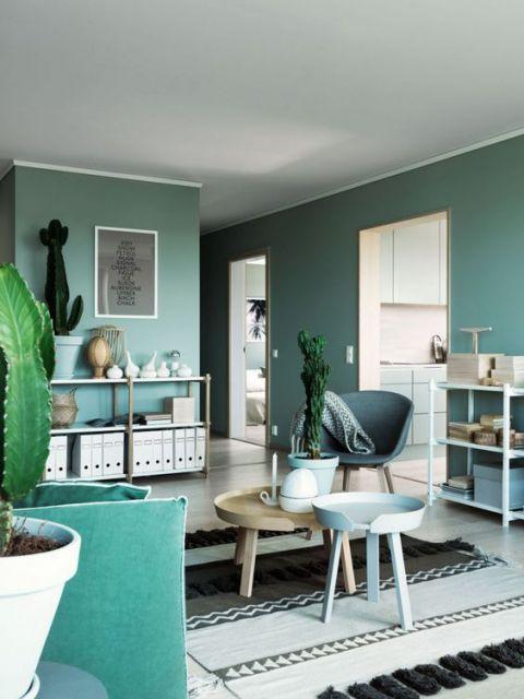 parede verde água casa