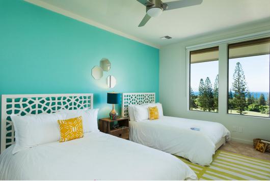 parede verde água quartos