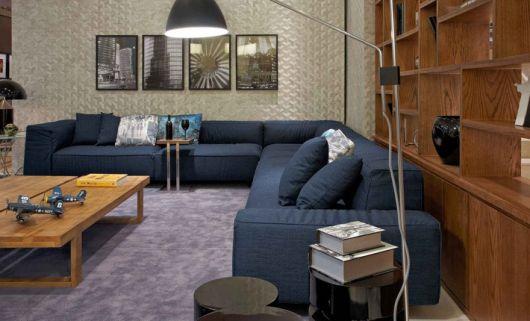 sofá azul marinho decoração