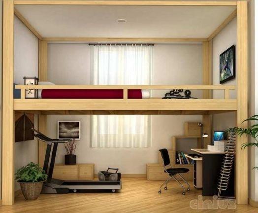 Beliche de madeira com escrivaninha e esteira embaixo.