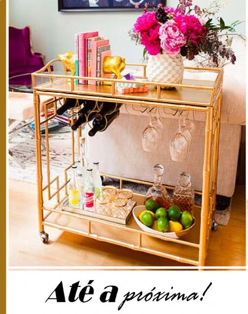 Ilustração final do post com carrinho de chá moderno nas cores caramelo.