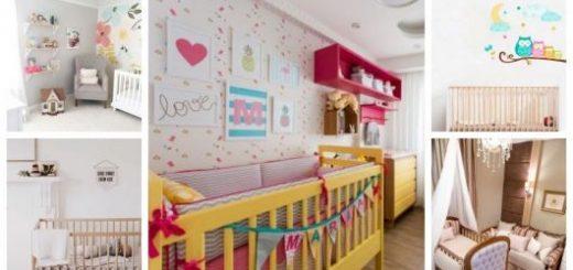 Montagem com cinco fotos de quarto de bebê feminino.