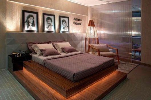cama suspensa com iluminação