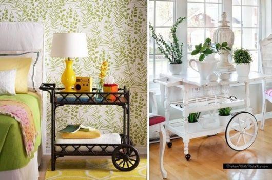 Modelos de carrinho de chá de madeira nas cores preto e branco.