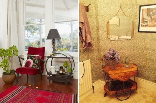 Modelos de sala cleans com carrinho de chá redondo.