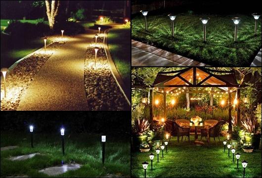 Montagem com quatro fotos diferentes de luminária solar para jardim