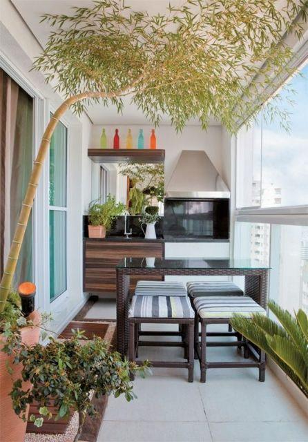 Foto de uma varanda gourmet pequena com plantas posicionadas em vasos vistas em primeiro plano.