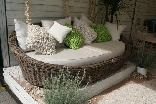 sofá de vime redondo