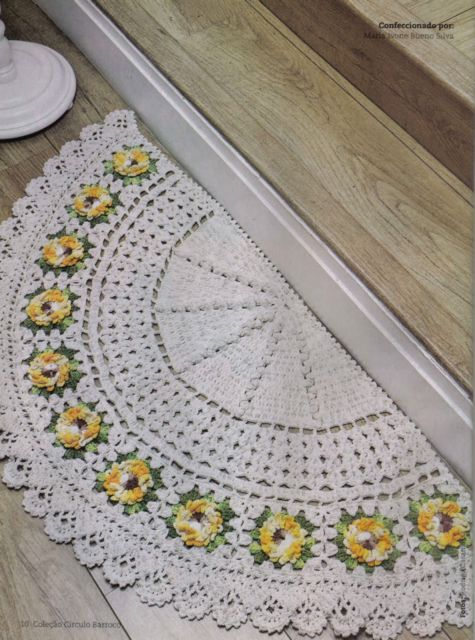 tapetes de entrada de crochê branco