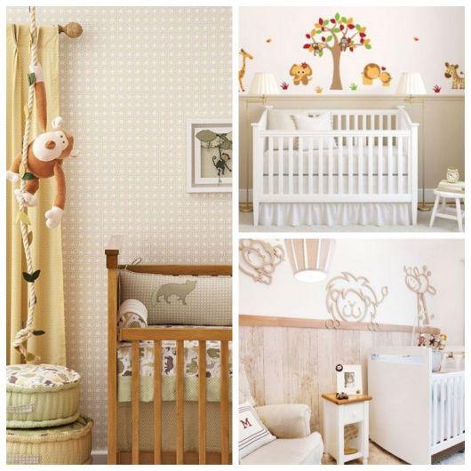 Montagem com três quartos com inspiração no safari.