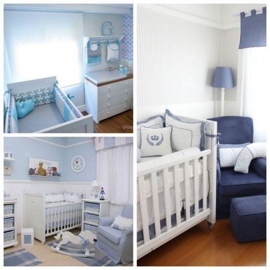 Montagem com quartos azuis.