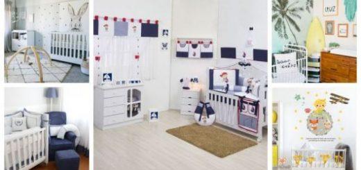 Montagem com cinco fotos de quartos com decorações diferentes.