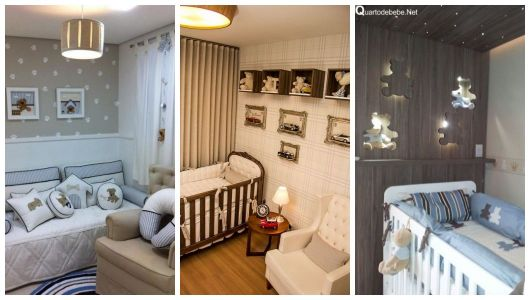 Três quartos com decoração de ursos.