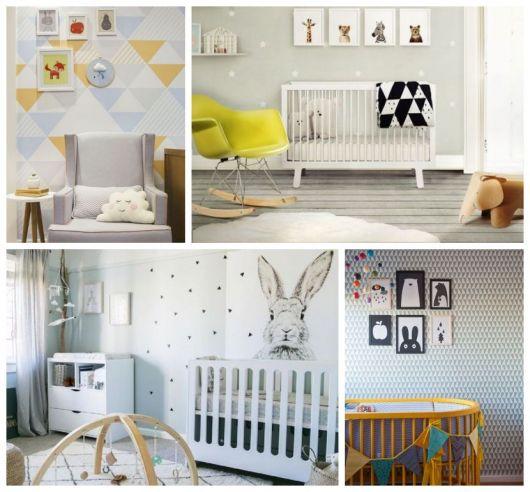 Montagem com quatro quartos com decorações modernas.