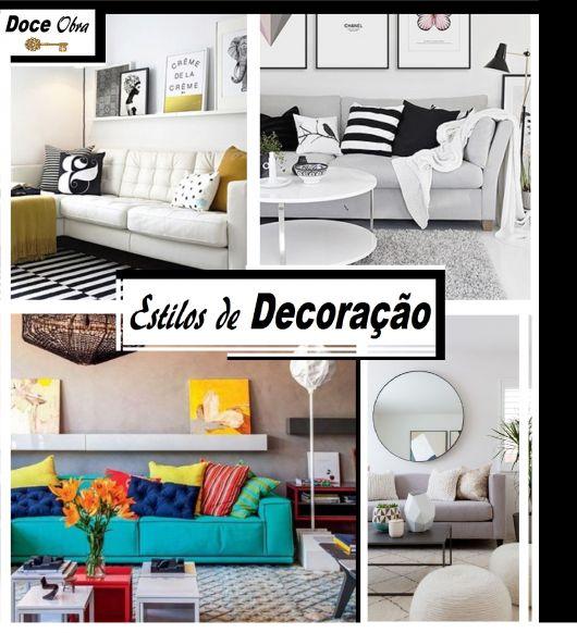 Foto ilustração capa do post com fotos de ambientes de estilos decorativos diversos.
