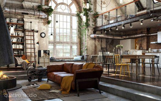 Sala com sofá de couro, piso de cimento queimado, tudo em estilo industrial.